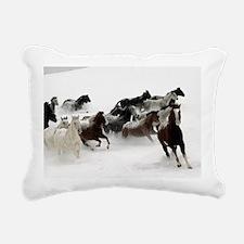 Horses Racing Through Th Rectangular Canvas Pillow