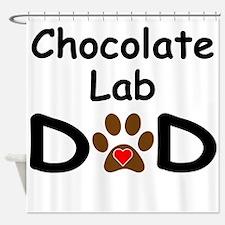 Chocolate Lab Dad Shower Curtain
