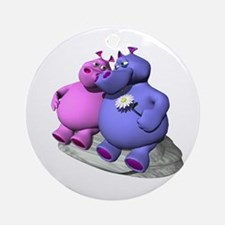 Hippos in Love Ornament (Round)