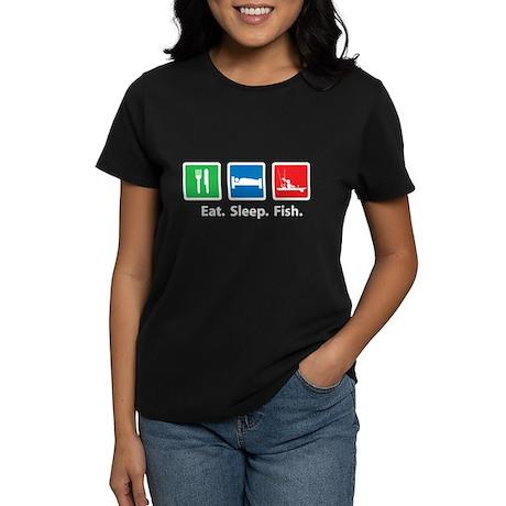 Eat. Sleep. Fish. Women's Dark T-Shirt