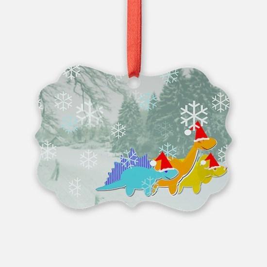 Cute Cartoon Dinosaurs Christmas Ornament