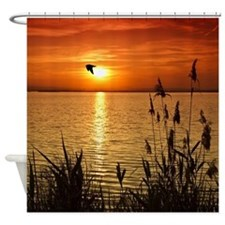 Golden Zen Sunset Shower Curtain