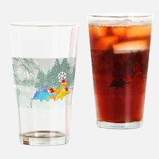 Cute Cartoon Dinosaurs Christmas Drinking Glass