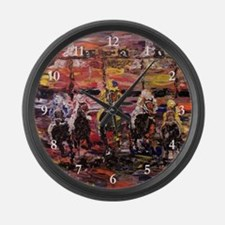 Modern Horse Race Large Wall Clock