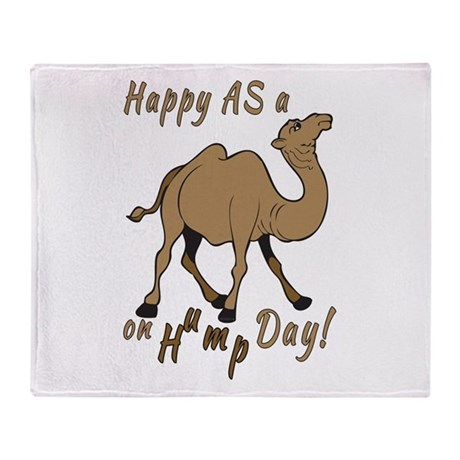 Happy AS A a Camel on Hump Day Throw Blanket