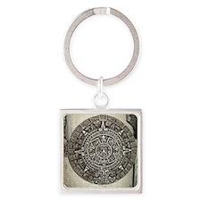 Aztec Calendar Square Keychain