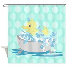 Duck in Tub Shower Curtain (Teal Dot) Shower Curta