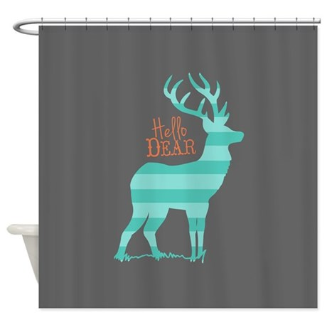 Hello Dear Turquoise Gray Coral Shower Curtain By ModMoxee