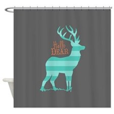 Hello Dear Turquoise, Gray, Coral Shower Curtain