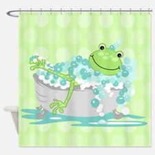 Frog in Tub Shower Curtain (Green) Shower Curtain
