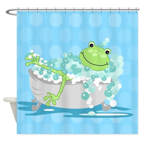 Frog In Tub Shower Curtain (Blue) Shower Curtain