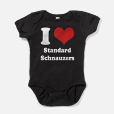 I Heart Standard Schnauzers Baby Bodysuit