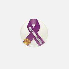Stop Animal Abuse Ribbon Mini Button (100 pack)