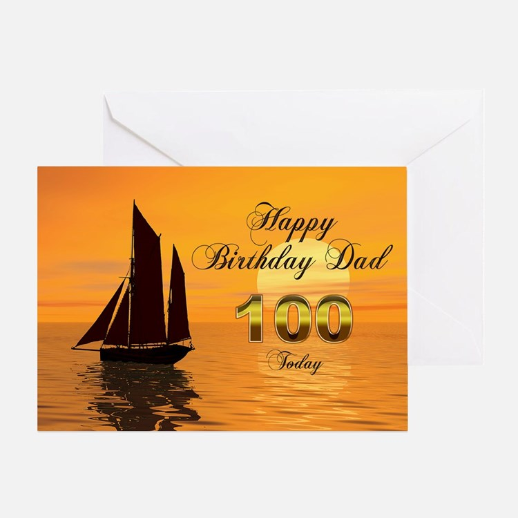 100th Birthday card for Dad with sunset yacht Gree