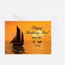 70th Birthday card for Dad with sunset yacht Greet