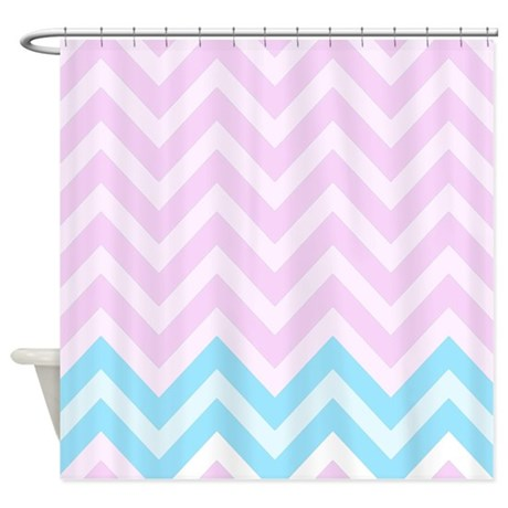 Pink And Blue Chevrons Shower Curtain Shower Curta By FamilyFunShoppe