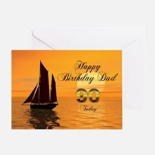 90th Birthday card for Dad with sunset yacht Greet