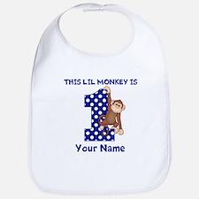This lil Monkey Blue 1st Birthday Bib