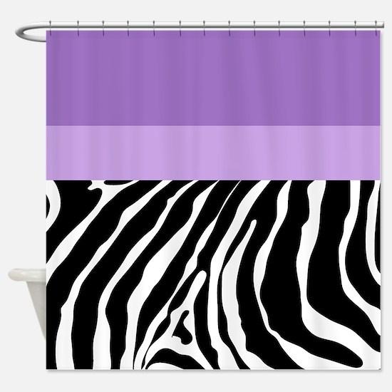 Trendy Zebra Stripe Shower Curtain (Purple) Shower