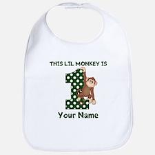 1st Birthday Monkey Green Bib