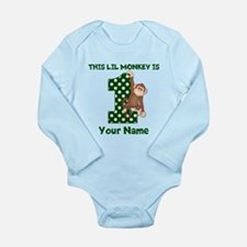 1st Birthday Monkey Green Body Suit