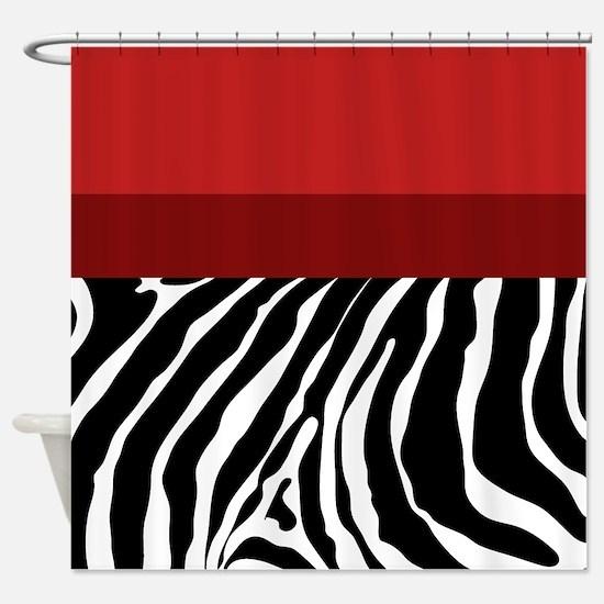 Trendy Zebra Stripe Shower Curtain (Red) Shower Cu