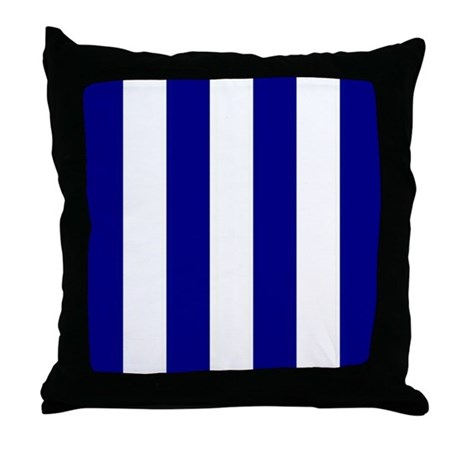 Navy And White Striped Throw Pillow : Navy Blue and White Striped Throw Pillow by stripstrapstripes