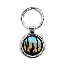 Coyote Moon Round Keychain