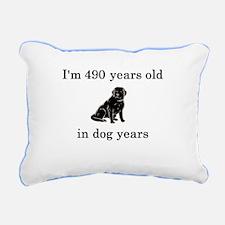 70 birthday dog years lab Rectangular Canvas Pillo
