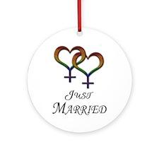 Just Married - Hearts - Lesbian Pride - Light Orna