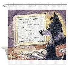 Border Collie dog writer Shower Curtain