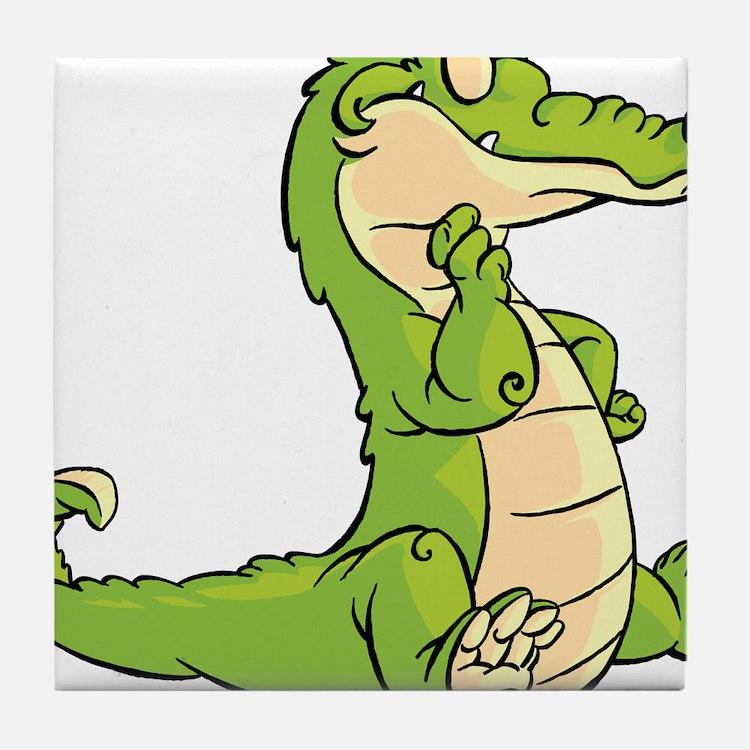 Thinking Crocodile Tile Coaster