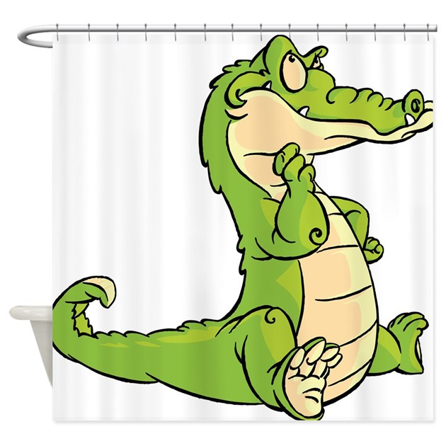 Thinking Crocodile Shower Curtain By Underthesea2