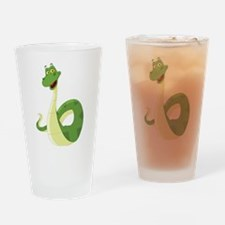 Funny Green Snake Drinking Glass