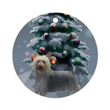Silky Terrier Christmas Ornament (Round)