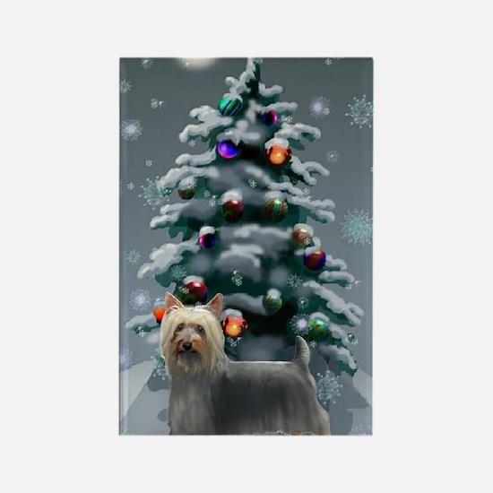 Silky Terrier Christmas Rectangle Magnet (10 pack)