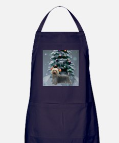 Silky Terrier Christmas Apron (dark)