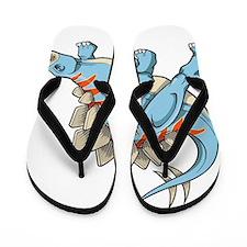 Blue Dinosaur Flip Flops