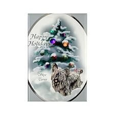 Skye Terrier Christmas Rectangle Magnet (100 pack)