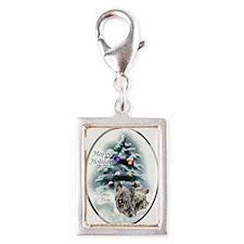 Skye Terrier Christmas Silver Portrait Charm