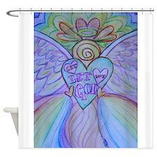 Let Love, Let God Rainbow Angel Shower Curtain