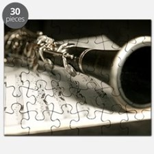 clarinet and Music Case Mens Full Shirt Puzzle