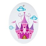 Pink Fairytale Castle Ornament (Oval)