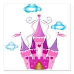 Pink Fairytale Castle Square Car Magnet 3