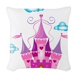 Pink Fairytale Castle Woven Throw Pillow