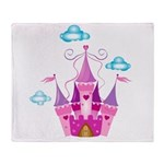 Pink Fairytale Castle Throw Blanket
