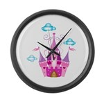 Pink Fairytale Castle Large Wall Clock