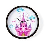 Pink Fairytale Castle Wall Clock