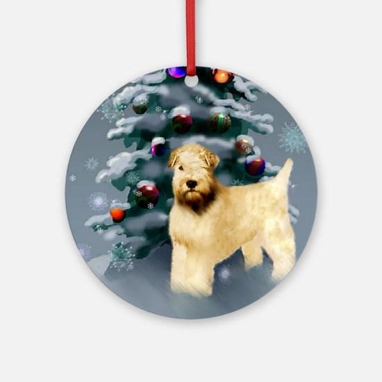 Wheaten Terrier Christmas Round Ornament