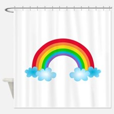 Rainbow & Clouds Shower Curtain